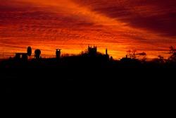 Sunrise city in the morning sunset