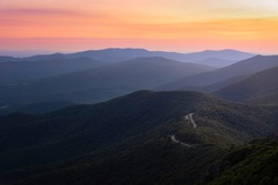 Sunrise colors over Skyline Drive from Stony Man Mountain in Shenandoah National Park, Virginia.