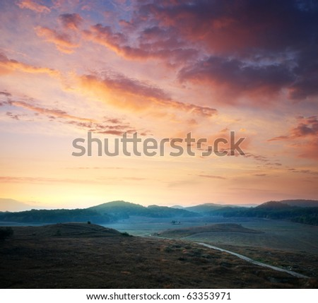Sunrise composition. Hills of mountain.