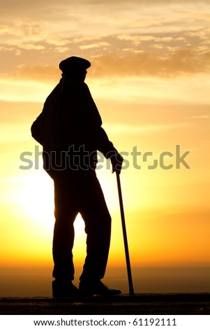 Sunrise  dawn   old  man   silhouette