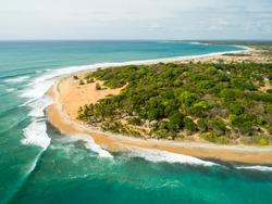 Sunrise drone photo at Arugam Bay Main Point surf break in Sri Lanka