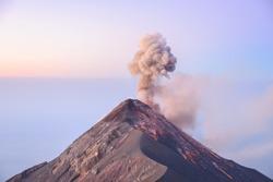 Sunrise eruption at Volcan Fuego in Guatemala