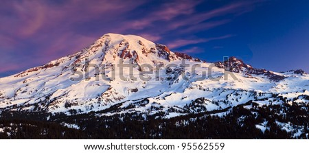 Stock Photo Sunrise from Mt. Rainier