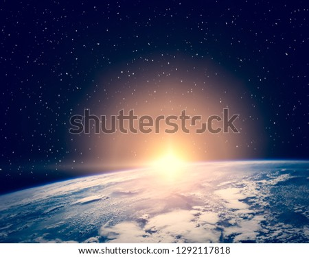Sunrise  from space. The elements of this image furnished by NASA.