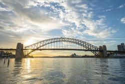 Sunrise from Sydney Harbor bridge.