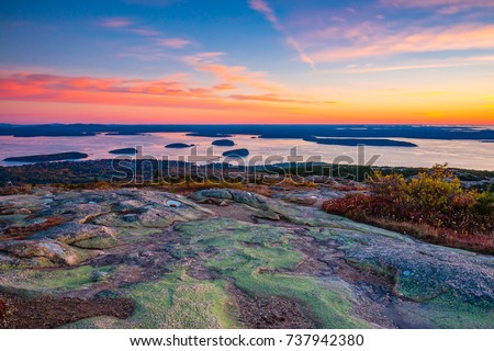 Sunrise from the Summit of Mount Cadillac in Fall | Acadia National Park, Maine, USA #737942380