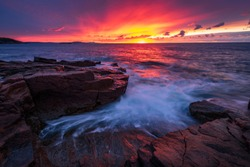 Sunrise from Thunder Hole, Acadia National Park, Mount Desert Island, Maine