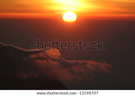 Sunrise from top of Kilimanjaro (5.895 m) - highest mountain in Africa. Tanzania