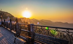 Sunrise from top of Mussoorie forming winter line ,Uttarakhand,India.