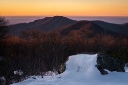 Sunrise glowing on Old Rag Mountain on a late winter morning in Shenandoah National Park.