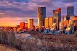 Sunrise glowing over downtown Calgary
