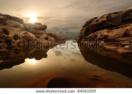 sunrise head dog at Sam Phan Bhok Grand Canyon, Mekhong river, Ubon Ratchathani, Thailand