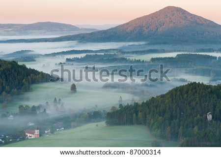 Sunrise in a beautiful mountain of Czech-Saxony Switzerland.