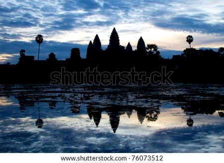 Sunrise in Angkor Wat temple complex in Siem Reap, Cambodia. One of the great complex of ancient temples in asia.