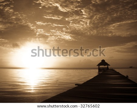 Sunrise in Antique Light over Ambergris Caye, Belize.