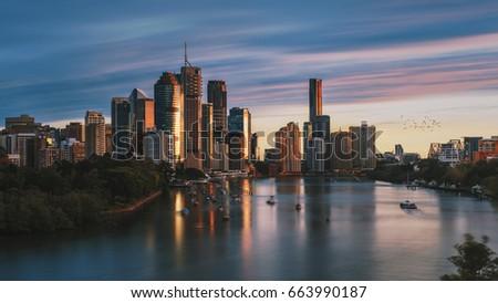Sunrise in Brisbane City, shot from Kangaroo Point