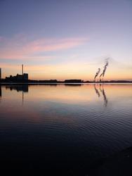 Sunrise in city of Aalborg, Denmark