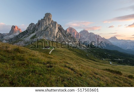 Sunrise in Dolomite Mountains - Passo Giau. Dolomite mountains - Italy, Europe, UNESCO World Heritage Site. - Shutterstock ID 517503601