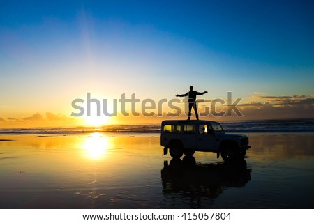 Sunrise in Fraser Island, Australia. Fraser Island is the largest sand island in the world and one the most beautiful places to visit in Queensland. #415057804