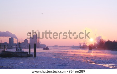 Sunrise in Hamburg at a very cold winter morning