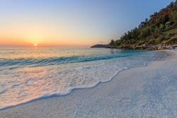 Sunrise in Marble beach (Saliara beach), Thassos Islands, Greece. The most beautiful white beach in Greece