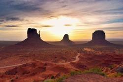 Sunrise in Monument Valley - desert landscape, USA