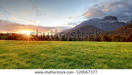 sunrise in mountains landscape  ...