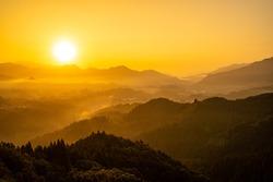 sunrise in mountains, Takachiho, Miyazaki