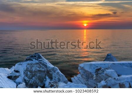 sunrise in Porto Vathy. Thassos Island, Greece