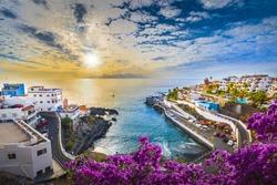 Sunrise in Puerto de Santiago city,  Tenerife, Canary island, Spain