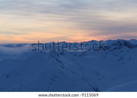 Sunrise in Remote Mountains - stock photo