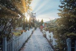 Sunrise in small village. Sidewalk between cottages and gardens. Small fences around road. Beautiful houses and trees. Summer landscape.