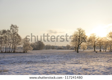 sunrise in snow-covered winter landscape with trees and colorful light