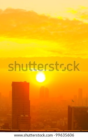 Sunrise in the foggy day at Bangkok city, Thailand