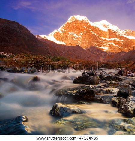 Sunrise in the Himalayas, at a beautiful stream, Everest Region
