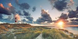 sunrise in the morning at the beach of List, Sylt Germany