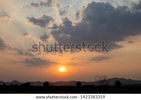Sunrise in the morning, sunrise with clouds.