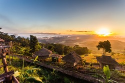 Sunrise  in the northern of Thailand about the focal point of the Golden Triangle at the intersection of the three countries;Thailand, Myanmar, Laos