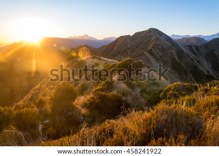 Sunrise in the Southern Alps near Hokitika, New zealand