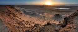 Sunrise in the Western Sahara desert, Morocco - Panorama