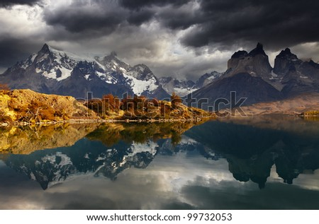 Sunrise in Torres del Paine National Park, Lake Pehoe and Cuernos mountains, Patagonia, Chile