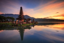 Sunrise in Ulun Danu Temple Bali