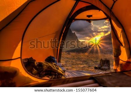 Sunrise inside a Tent #155077604