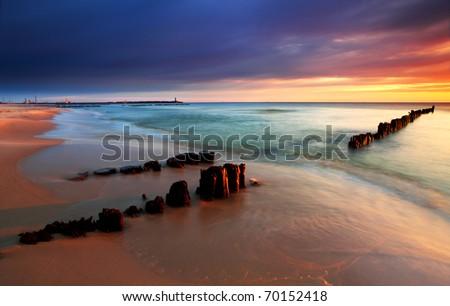 Sunrise is baltic sea
