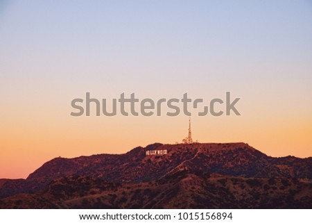 Sunrise landscape view of hills and Hollywood sign in Los Angeles, California, USA #1015156894