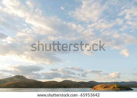 sunrise light on an island in Curecanti National Recreation Area