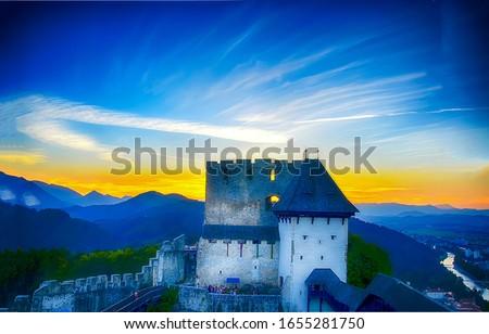 Sunrise mountain castle rock landscape. Castle rock in mountain sunrise scene. Sunrise mountain castle rock. Mountain castle rock sunrise