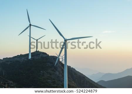 Sunrise, mountain, windmills