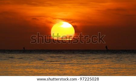Sunrise near Bali island. Amed. Indonesia