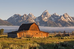 Sunrise of Moulton Barn in the Grand Teton National Park, Wyoming